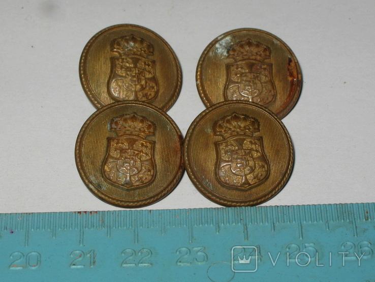 Пуговицы Корона гербы 4 штуки, фото №3