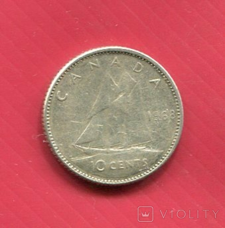 Канада 10 центов Серебро Парусник, фото №2