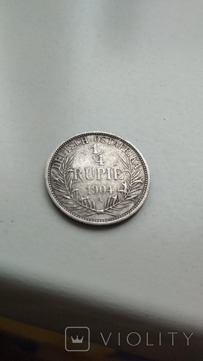Германская Восточная Африка 1/4 рупия 1904(А), фото №2
