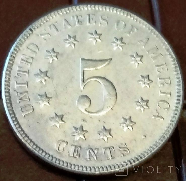5 центів США 1869 року. не магнітний, високоякісна копія, фото №2