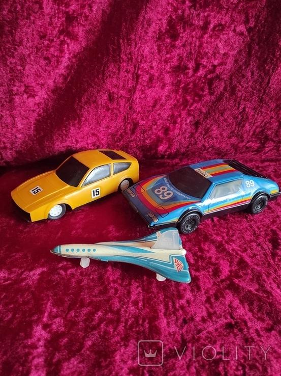 Инерционные модели машинки времён СССР 2 шт + самолёт жестяной, фото №2