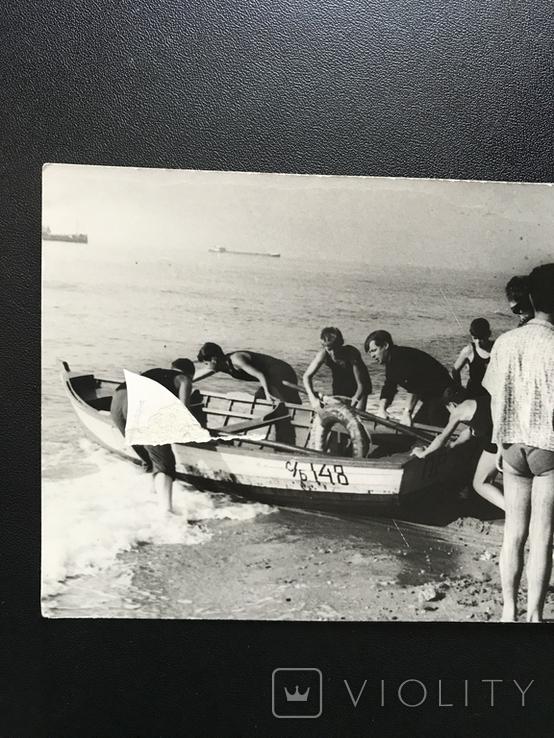 1963 Одесса В лагере университета Лодка Рыбаки, фото №4