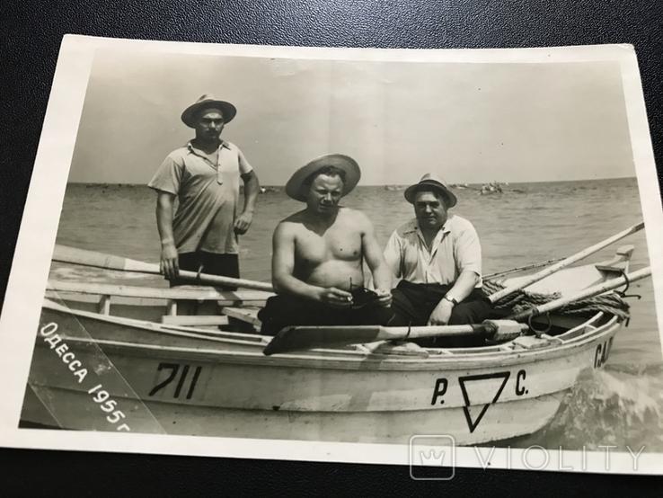 1955 Одесса Лодка Рыбаки Шляпы, фото №3