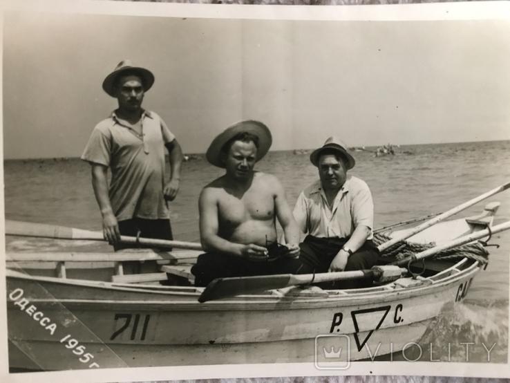 1955 Одесса Лодка Рыбаки Шляпы, фото №6