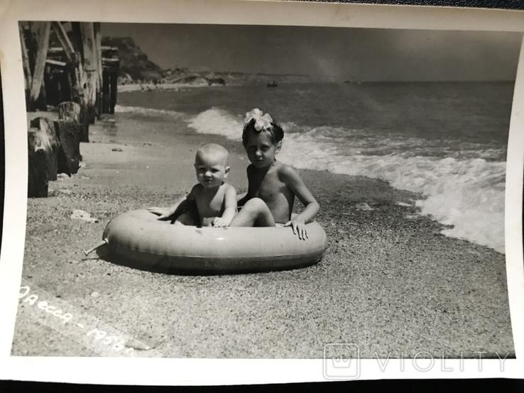 1956 Одесса Берег Дети с кругом, фото №7