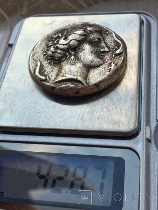 Декадрахма Сиракузы 6в. до н.э. серебро копия, фото №4