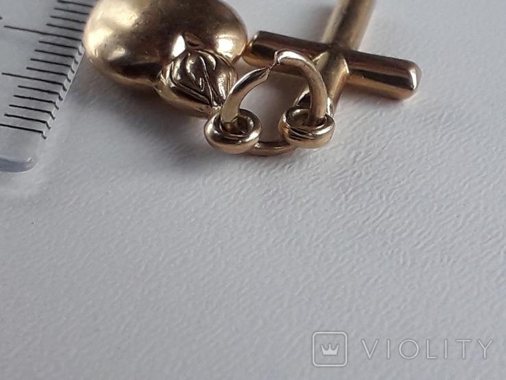 Кулон крест и пылающее сердце, золото 0.750, фото №5