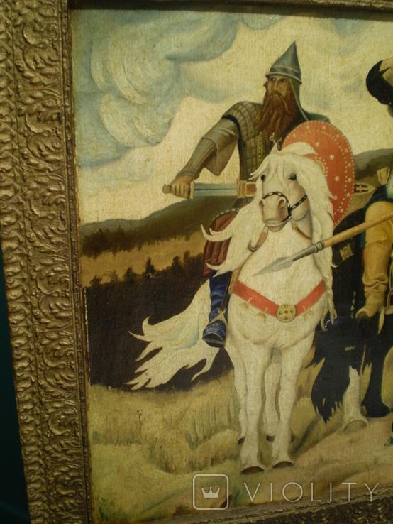 Старая копия картины Васнецова. Три богатыря., фото №4