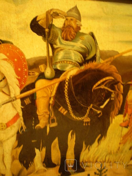 Старая копия картины Васнецова. Три богатыря., фото №6