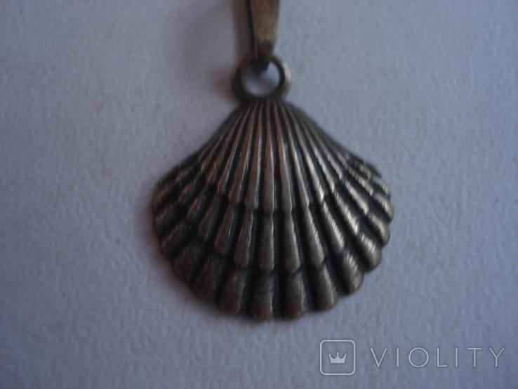 """Ракушка"" кулон серебро 916 проба звезда., фото №2"