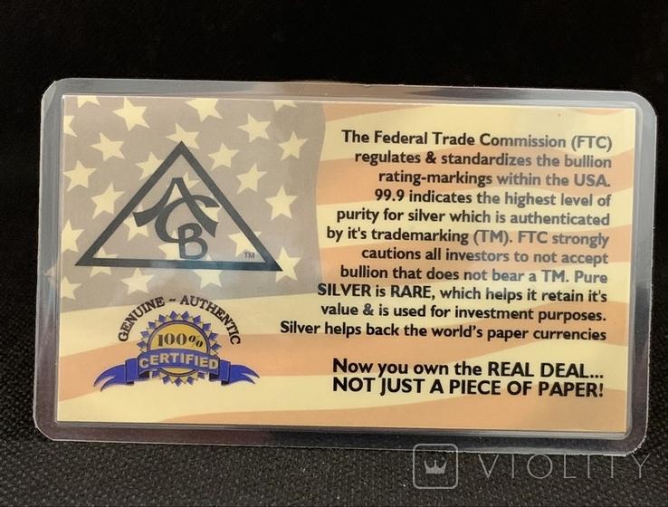 США Слиток серебра 999 пробы с сертификатом подлинности 5 гран, фото №3
