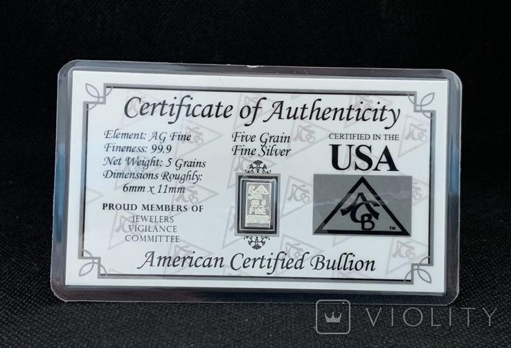 США Слиток серебра 999 пробы с сертификатом подлинности 5 гран, фото №2