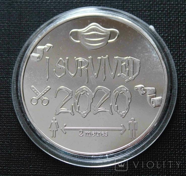 Монета Ковид 2020. Сувенирная монета I Survived (silver) копия, фото №3