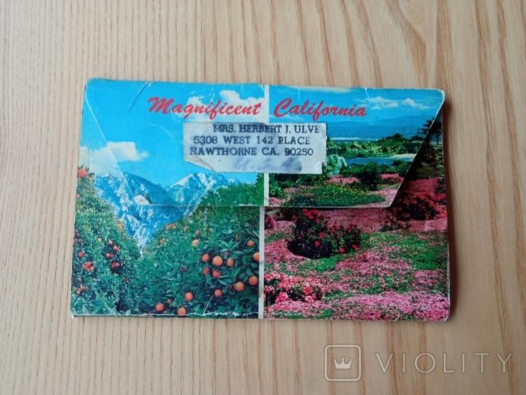 Винтажная открытка с марками США, фото №3