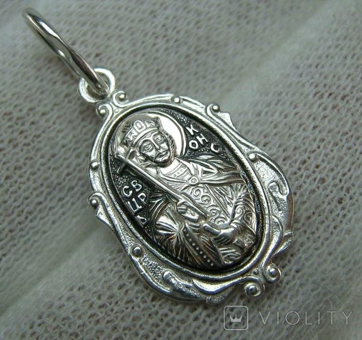Новый Серебряный Кулон Ладанка Святой Константин Серебро 925 проба 691, фото №2