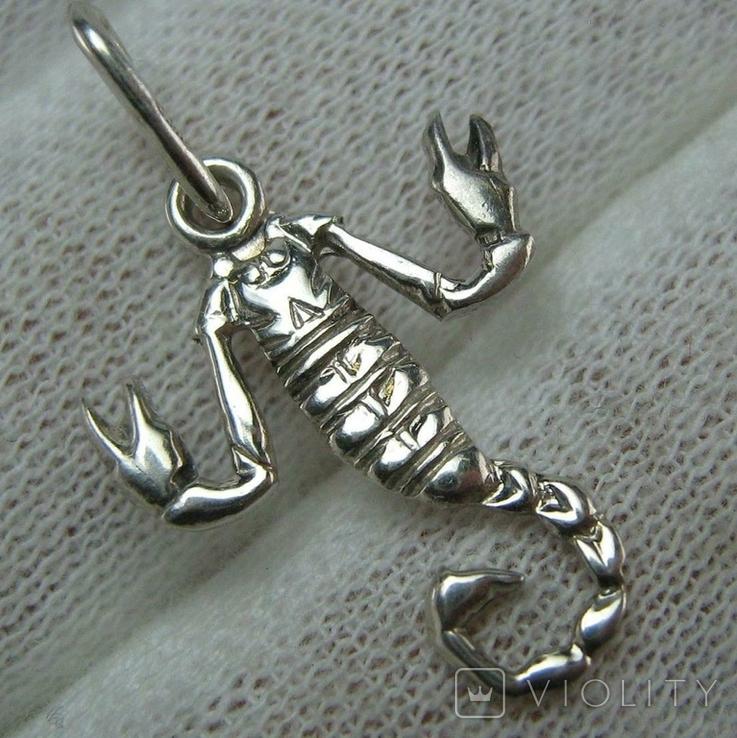 Серебряный Кулон Подвеска Скорпион Знак Зодиака Талисман Символ Серебро 925 проба 486, фото №2