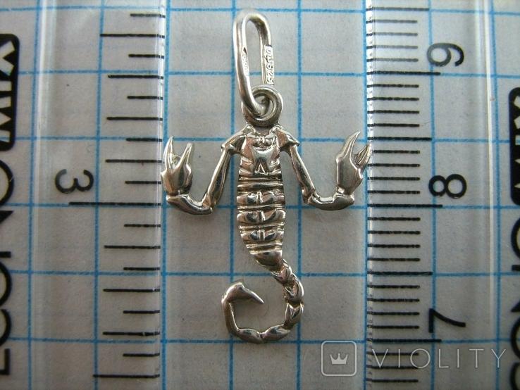 Серебряный Кулон Подвеска Скорпион Знак Зодиака Талисман Символ Серебро 925 проба 486, фото №4