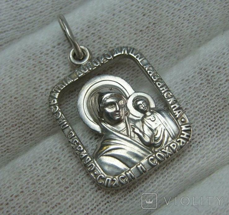 Серебряный Кулон Подвеска Образок Ладанка Богородица Иисус Христос Серебро 925 проба 747, фото №2
