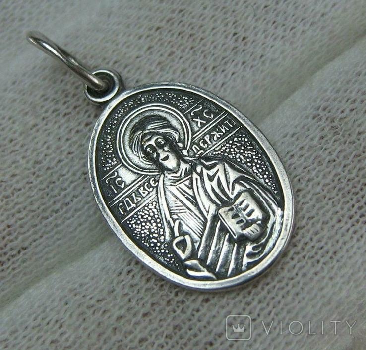 Серебряный Кулон Образок Иисус Христос Пантократор Всемогущий Господь 925 проба 678, фото №2