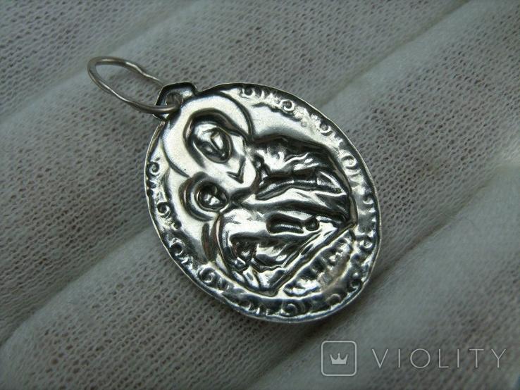 Серебряный Кулон Образок Богородица Козельщанская Иисус Христос Серебро 925 проба 764, фото №3