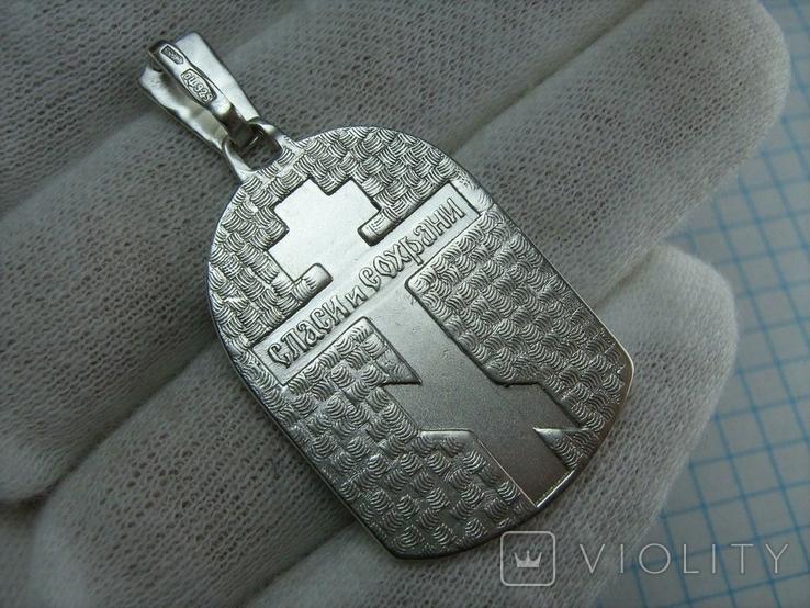 Серебряный Кулон Образок Иисус Христос Господь Благословляющий Нимб Крест 925 проба 792, фото №3
