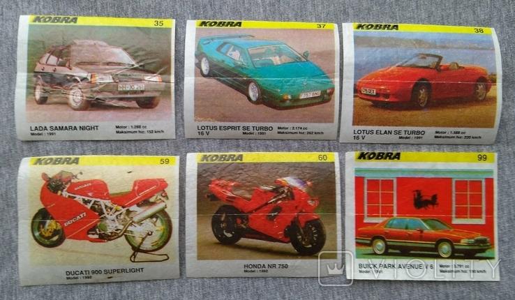 Вкладыши желтые Kobra автомобили 6 шт., фото №2