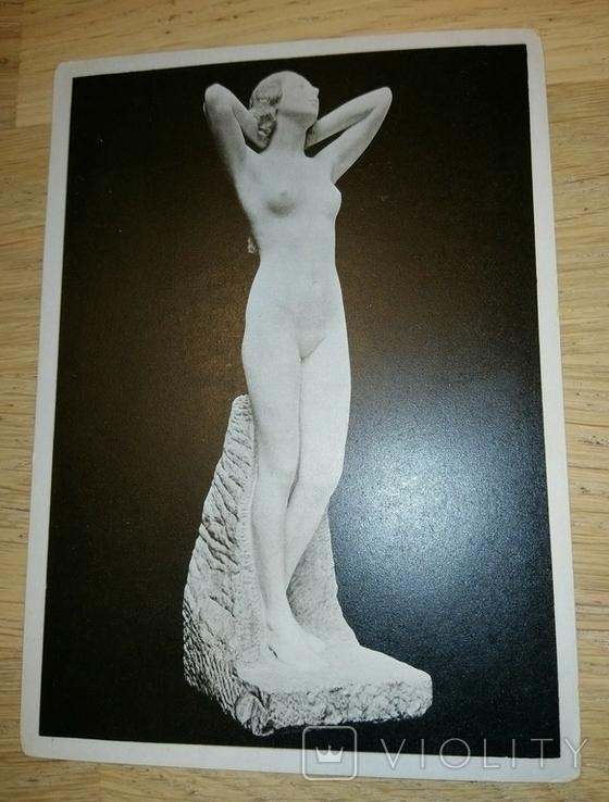 Открытка Германия Лейпциг 1946год Скульптура Карл Сеффнер, фото №2