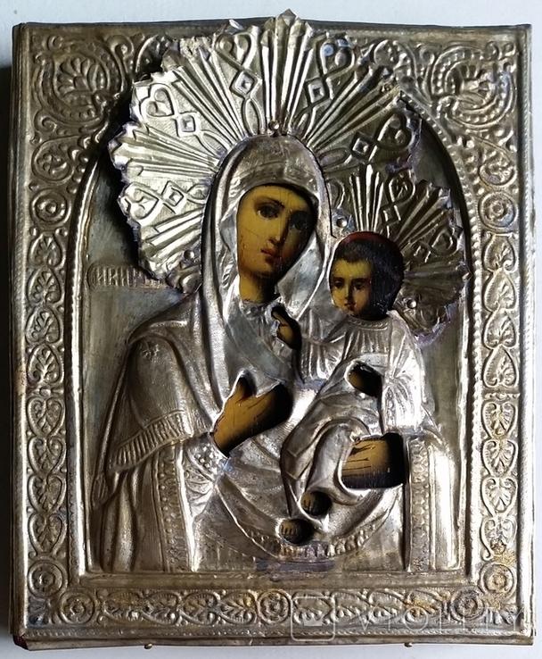 Ікона Іверська Богородиця, латунь, позолота, 13,6х11,4 см, фото №4
