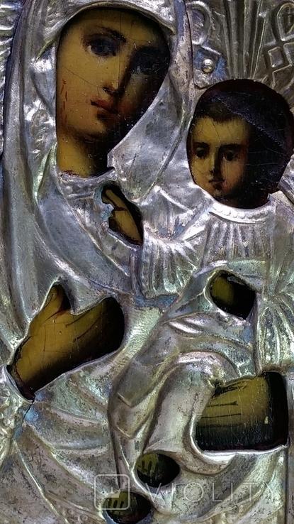 Ікона Іверська Богородиця, латунь, позолота, 13,6х11,4 см, фото №5