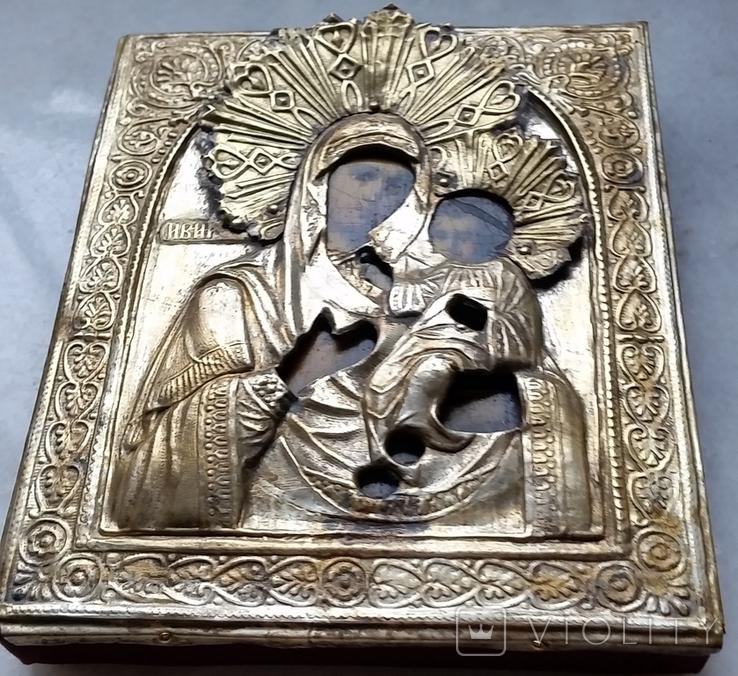 Ікона Іверська Богородиця, латунь, позолота, 13,6х11,4 см, фото №6