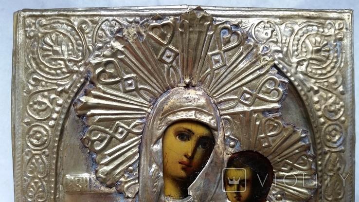 Ікона Іверська Богородиця, латунь, позолота, 13,6х11,4 см, фото №8