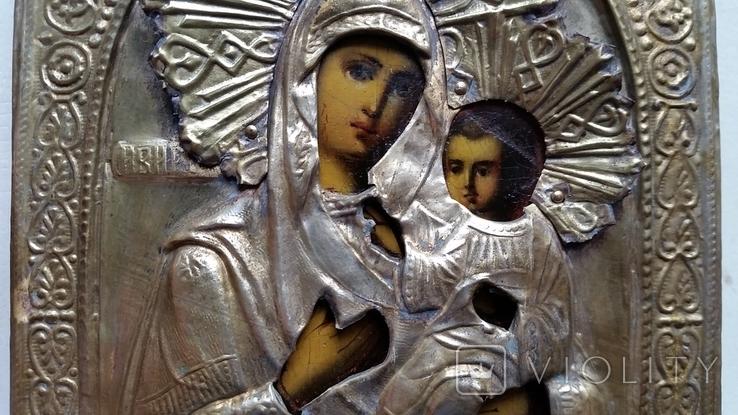 Ікона Іверська Богородиця, латунь, позолота, 13,6х11,4 см, фото №9