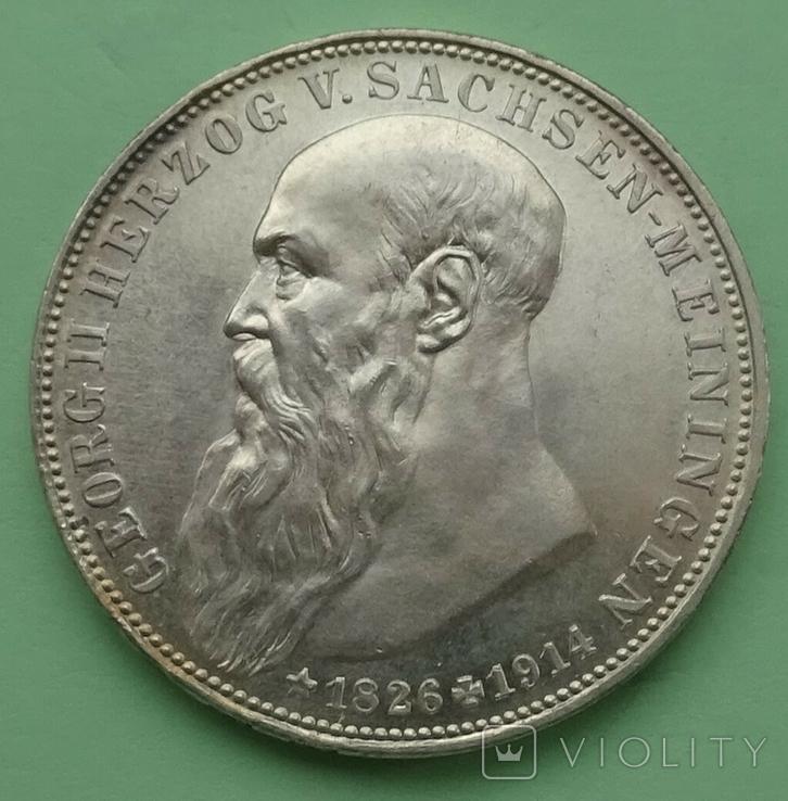 3 марки, 1915г, Саксен-Менинген,, фото №2