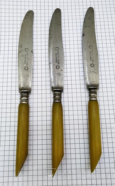 Ножи столовый 3шт старинные, Германия HABOSO STAHL SOLINGEN. Клеймо, фото №4