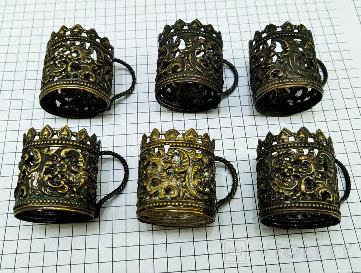 Подрюмочники 6 шт. бронза, Германия. Старинные., фото №2