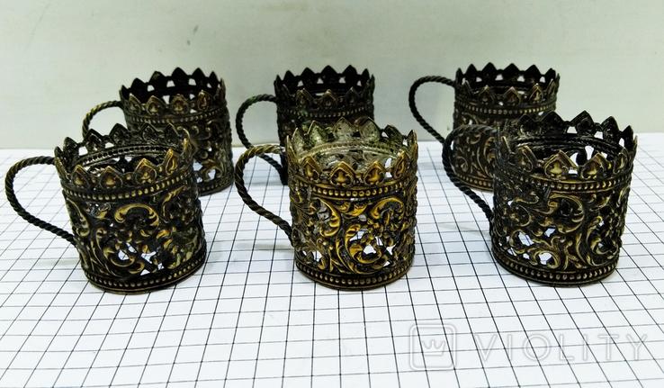 Подрюмочники 6 шт. бронза, Германия. Старинные., фото №3