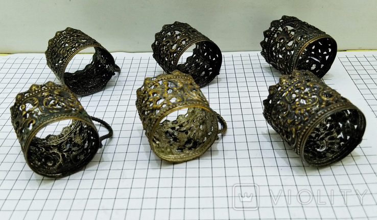Подрюмочники 6 шт. бронза, Германия. Старинные., фото №6
