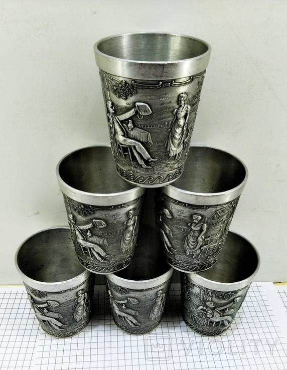 Рюмки 6 шт. олово Германия, сюжет, клеймо, фото №3