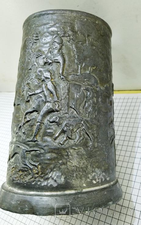 Бокал олово старинный. Германия, сюжет охота. Клеймо, фото №4