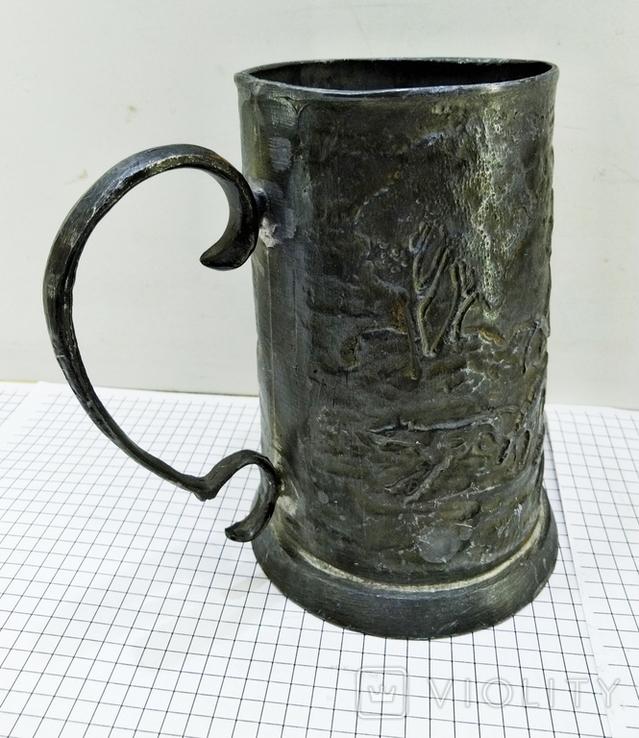 Бокал олово старинный. Германия, сюжет охота. Клеймо, фото №8