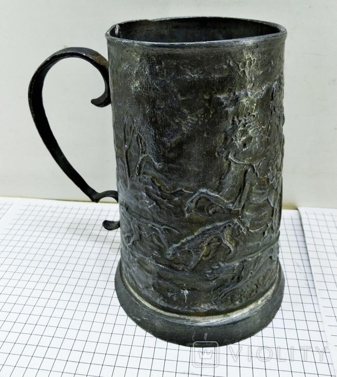 Бокал олово старинный. Германия, сюжет охота. Клеймо, фото №9