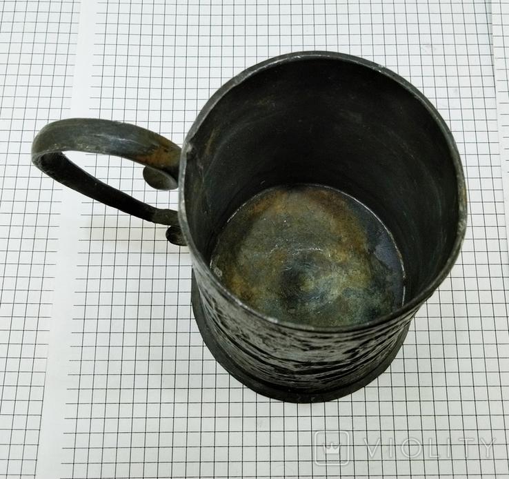Бокал олово старинный. Германия, сюжет охота. Клеймо, фото №10