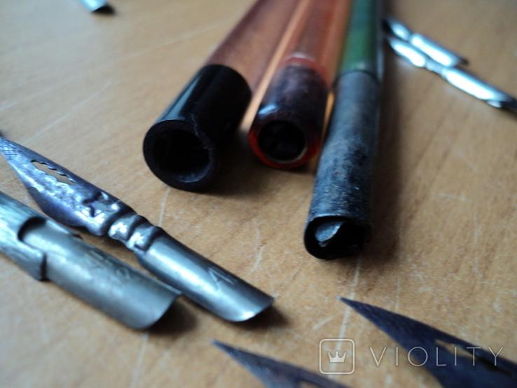Перьевые ручки-3шт +12 перьев.СССР., фото №5