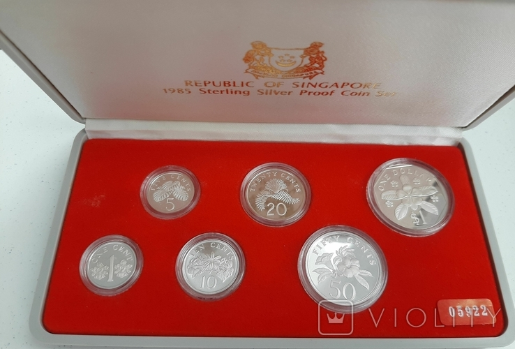 1985 Singapore Sterling Silver Proof Coin Set (Extra Large 1 Silver Proof Coin), фото №2