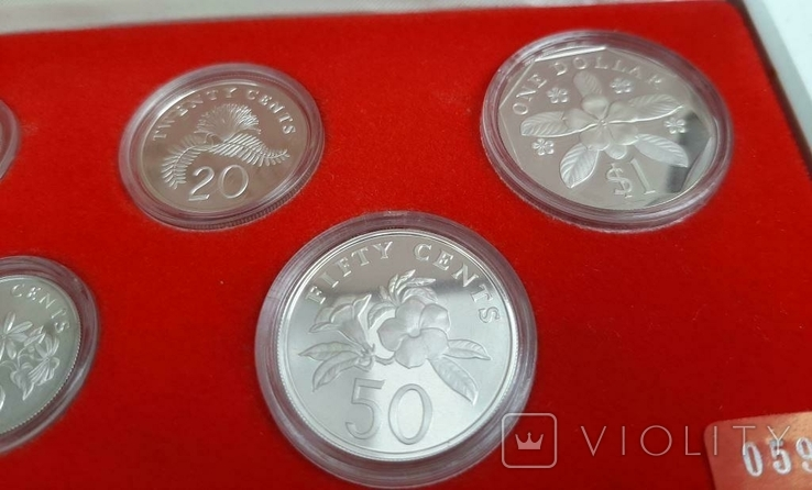 1985 Singapore Sterling Silver Proof Coin Set (Extra Large 1 Silver Proof Coin), фото №3