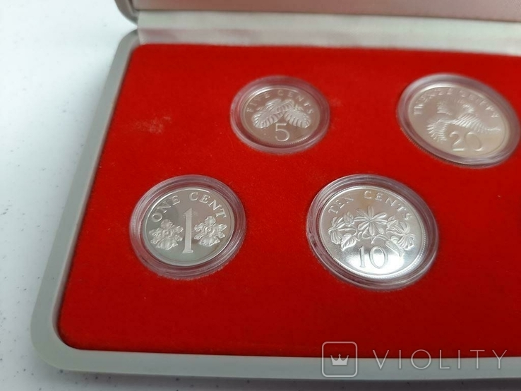 1985 Singapore Sterling Silver Proof Coin Set (Extra Large 1 Silver Proof Coin), фото №4