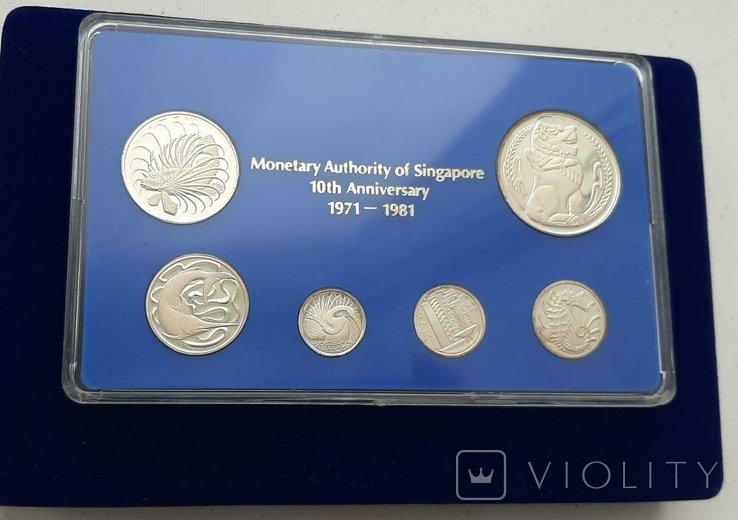 1971-1981 SINGAPORE 10TH ANNIVERSARY COMMEMORATIVE STERLING SILVER PROOF SET, фото №4