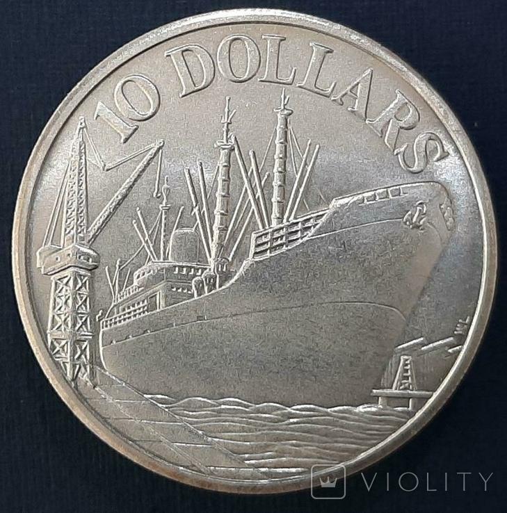 Сингапур 10 долларов 1965-1975 год Серебро Корабль, фото №2