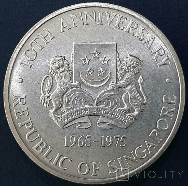 Сингапур 10 долларов 1965-1975 год Серебро Корабль, фото №3