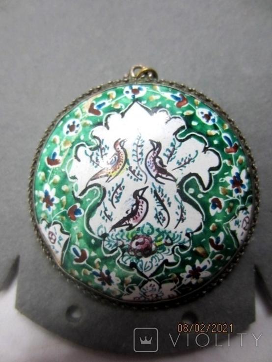 Кулон медь серебро эмаль царская, фото №3